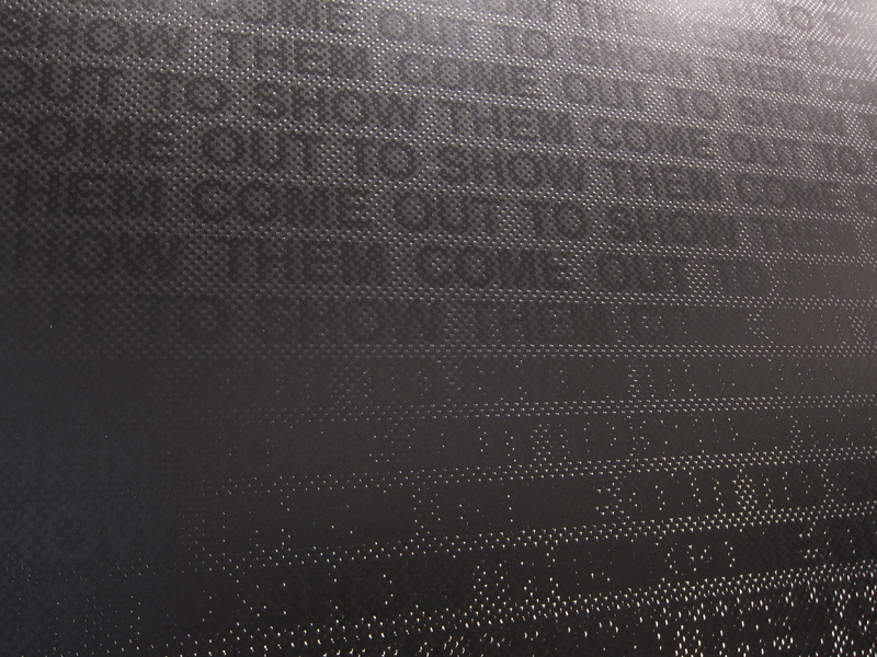Speaking of text, Glenn Ligon (U.S.) had an entire room w/these screen printed canvases in various states of legibility.
