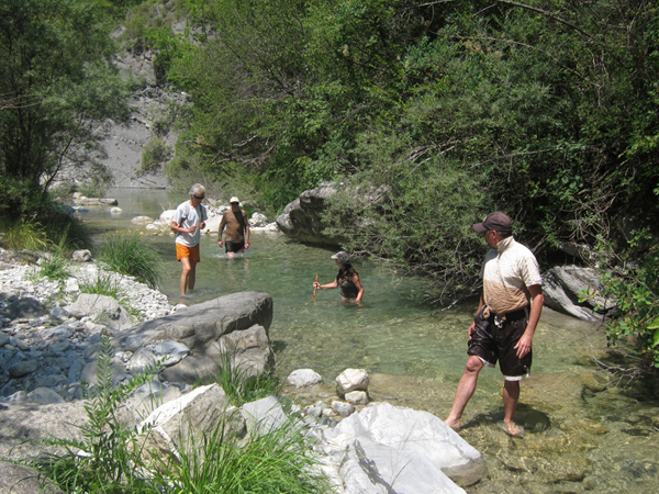 We also had the good fortune of being taken into the mountain areas to a river where it was easy to walk through the water. Extremely refreshing in the constant heat.