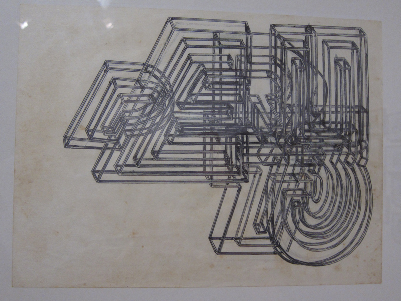 Coincidentally I also was attracted to a series of graphic drawings from the 70s by Teresa Burga who was also from Peru. Simple ball point pen on paper. Can you make out the Peru 73 in the lines?